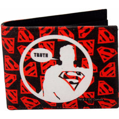 Superman The Truth Canvas and Leather Wallet for Men and Women - Multicolor