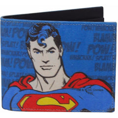 Superman Wham Bam Canvas and Leather Wallet for Men and Women - Multicolor