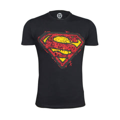 Superman Textured Logo Black T-Shirt for Men