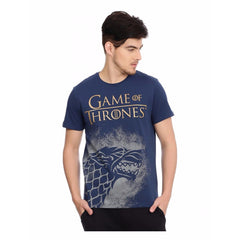 Game of Thrones Logo in Gold House of Stark Navy Blue T-Shirt for Men
