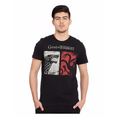 Game of Thrones Targaryen vs. Stark Black T-Shirt for Men