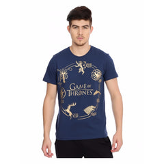 Game of Thrones Golden Chain of Houses Navy Blue T-Shirt for Men