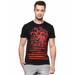 Game of Thrones House of Tagaryen Fire & Blood with Red Strap Black T-Shirt for Men