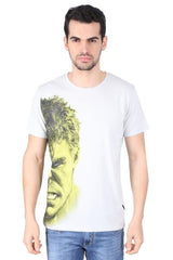 Hulk Half Face on Right White T-Shirt for Men