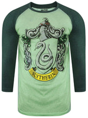 Harry Potter Slytherin Logo Green Raglan for Men
