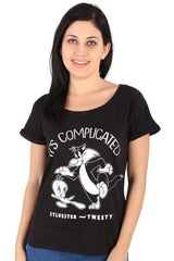 Sylvester & Tweety It's Complicated Black Tee for Women