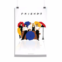 Friends Series with Umbrella Set of 1 Wall Canvas - Multicolor