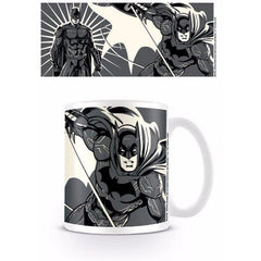 Justice League Comic Batman in Action Black and White Coffee Mug