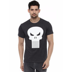 Punisher Skull Logo on Chest Black T-Shirt for Men