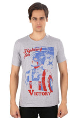 Captain America Fighting for Victory Grey T-Shirt for Men