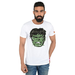 Comic Hulk Face White T-Shirt for Men