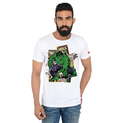 Comic Hulk The Strongest White T-Shirt for Men