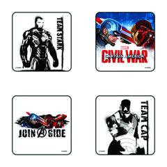 Civil War Captan America Join A Side Coaster Set of 4 - Multi Color