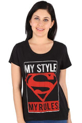 Superman Logo My Style My Rules Black Tee for Women