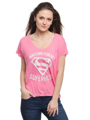 Superman Logo Waiting For My Superher Pink Tee for Women