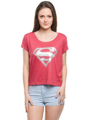 Superman Silver Logo Red Tee for Women