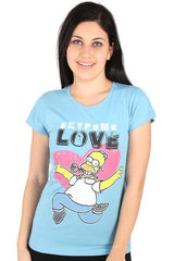 Simpsons Extreme Love Blue Tee for Women