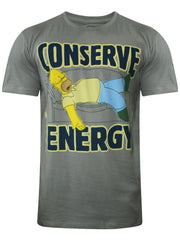 Simpsons Homer Conserve Energry Grey T-Shirt for Men