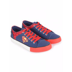 Superman Faded and Small Logos Unisex Canvas Shoes - Navy and Red