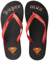 Superman Small Logo with Super Man Black Flip Flops for Men and Women