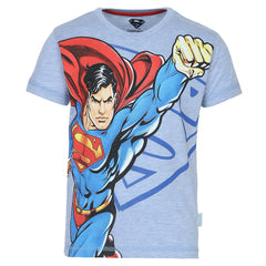 Superman Flying with Logo Light Blue T-Shirt for Boys