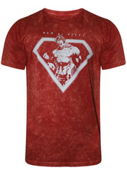 Superman Man of Steel Acid Wash Red T-Shirt for Men