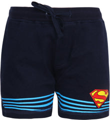 Superman Logo with Stripes Below Navy Blue Shorts for Boy