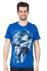 Superman Using Strength Dark Blue T-Shirt for Men
