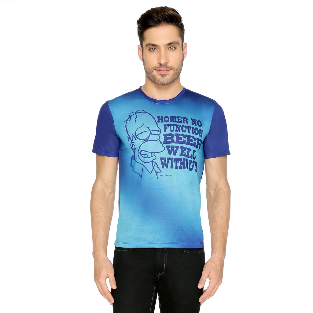 Simpsons T-Shirt Blue - Homer'S Life Philiosophy Planet Superheroes