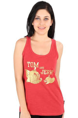 Tom & Jerry Golden Face Red Tank for Women