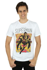 Superman Man of Steel Joyful Flying Superman White T-Shirt for Men
