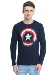 Captain America Shield in Dark Blue T-Shirt for Men