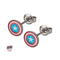 Captain America Earrings & Studs Logo Studs