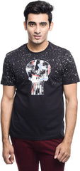 Punisher Logo Spray Paint Navy Blue T-Shirt for Men