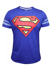 Superman Royal Logo with Stripes on Hand Blue T-Shirt for Men