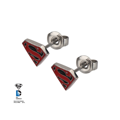 Superman Black Shield Logo Studs