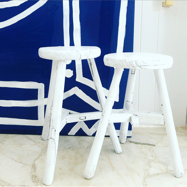 Chinese Workers Stool WHITE
