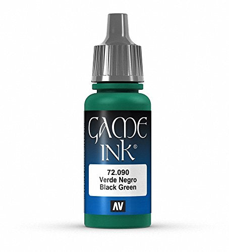 Vallejo Game Color Black Green Ink Paint, 17ml