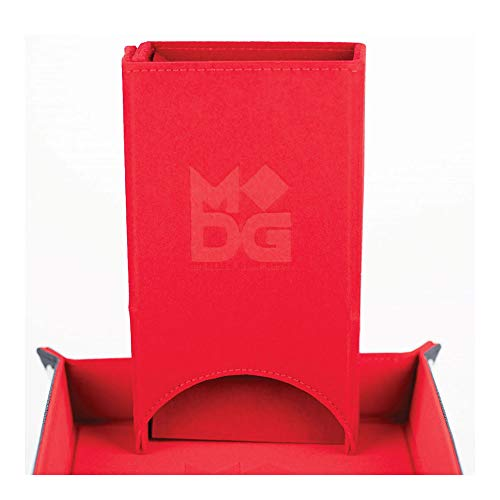 Metal Dice Games Leather Velvet Fold Up Dice Tower - Red
