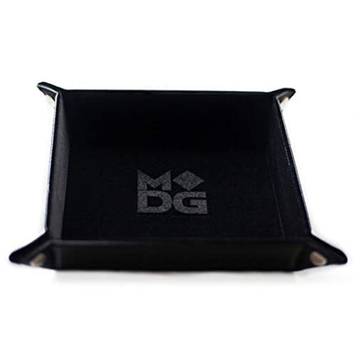 Metallic Dice Games Leather and Velvet Dice Tray 10 x 10 - Black