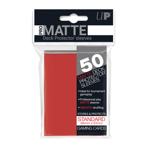 Ultrapro Pro Matte Red Non-Glare Deck Protectors (Regular Size- 50 Ct)