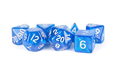 MDG Metallic Dice Games Stardust Blue w/ Silver Numbers 16mm Acrylic Polyhedral Set