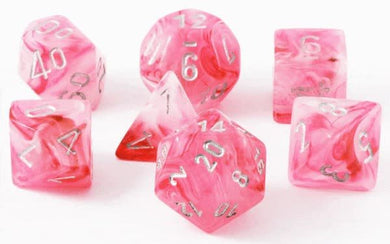 Polyhedral 7-Die Set Ghostly Glow Pink w/ Silver Numbers Chessex CHX27524