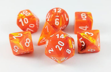 Polyhedral 7-Die Set Vortex Solar Orange w/ White Numbers Chessex CHX27423