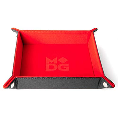 Metallic Dice Games 531 10 x 10 in. Velvet Leather Folding Dice Tray Red