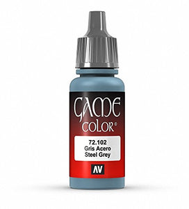 Vallejo Game Color Steel Grey Paint, 17ml