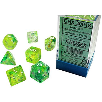 Spring Nebula Luminary Dice with White Numbers 16mm (5/8in) Set of 7 Chessex