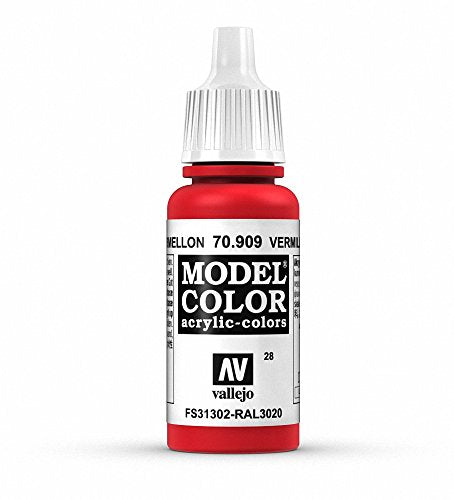 Vallejo Model Color Acrylic Paint, C. Red Vermillion 17ml