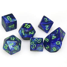 Load image into Gallery viewer, Polyhedral 7-Die Set Lustrous DarkBlue w/ Green Numbers Chessex CHX27496