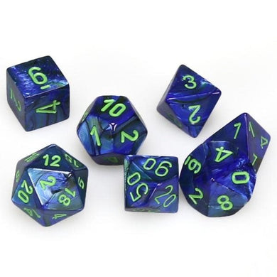 Polyhedral 7-Die Set Lustrous DarkBlue w/ Green Numbers Chessex CHX27496